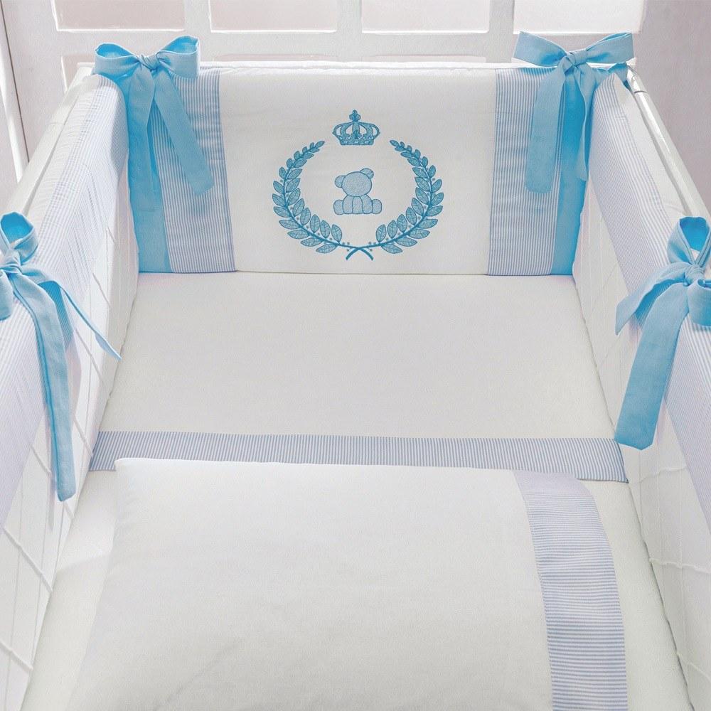 Kit Mini Berço Urso Realeza Doce Encanto Azul
