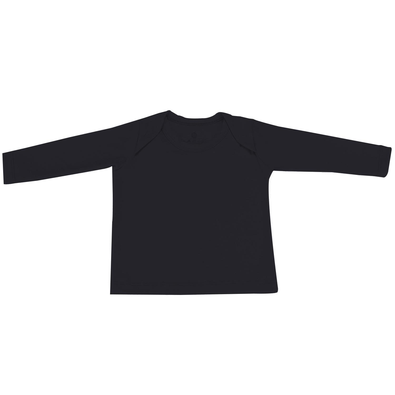 Camiseta Manga Longa Preto Recém-Nascido a 3 Meses