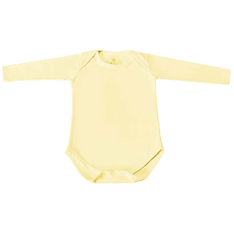Body Manga Longa Basic Liso Amarelo Prematuro