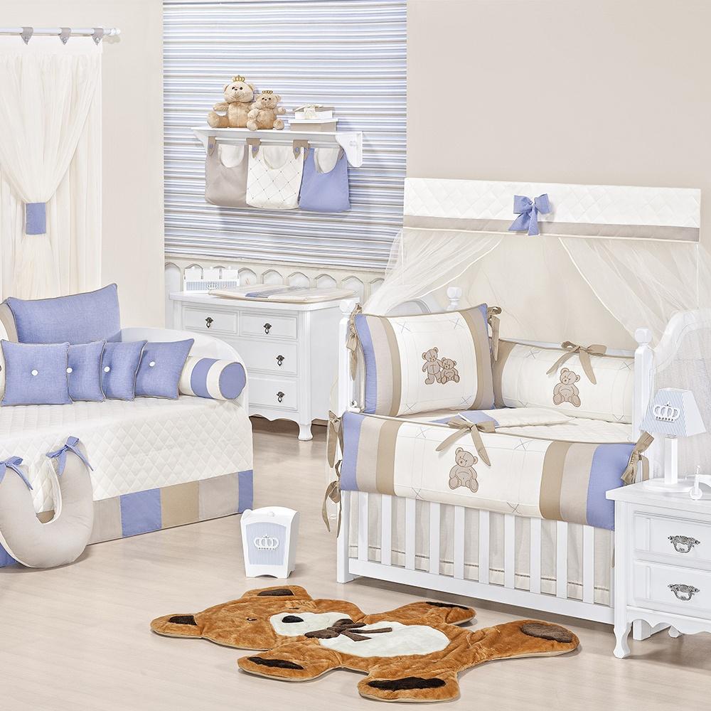 Quarto para Bebê sem Cama Babá Meu Amigo Urso Azul