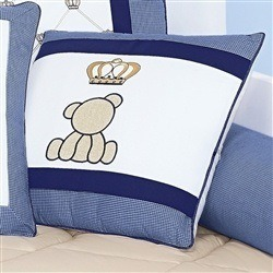 Almofada Decorativa Urso Coroa Classic Marinho