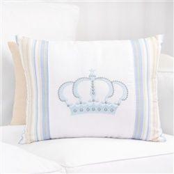 Almofada Bordada Coroa Azul