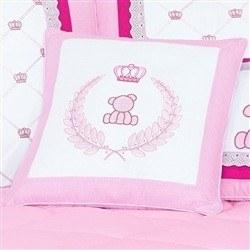 Almofada Decorativa Urso Coroa Classic Rosa