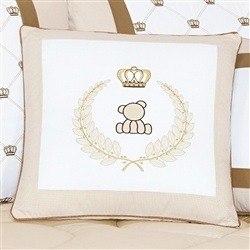 Almofada Decorativa Brasão Urso Classic Palha