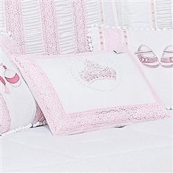 Almofada Decorativa Bordada Coroa Imperial Rosa