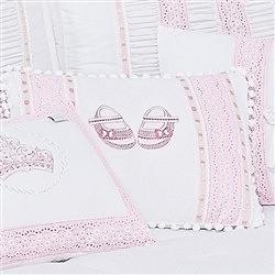 Almofada Decorativa Bordada Sapatinhos Imperial Rosa