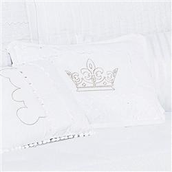 Almofada Decorativa Coroa Bordada Kingdon
