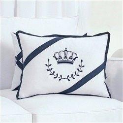 Almofada Decorativa Bordada Coroa Elegance Marinho