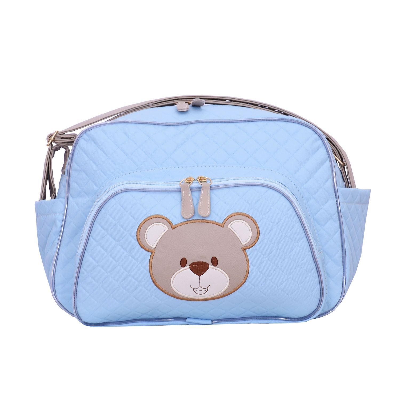 bolsa maternidade urso fofinho azul m grão de gente