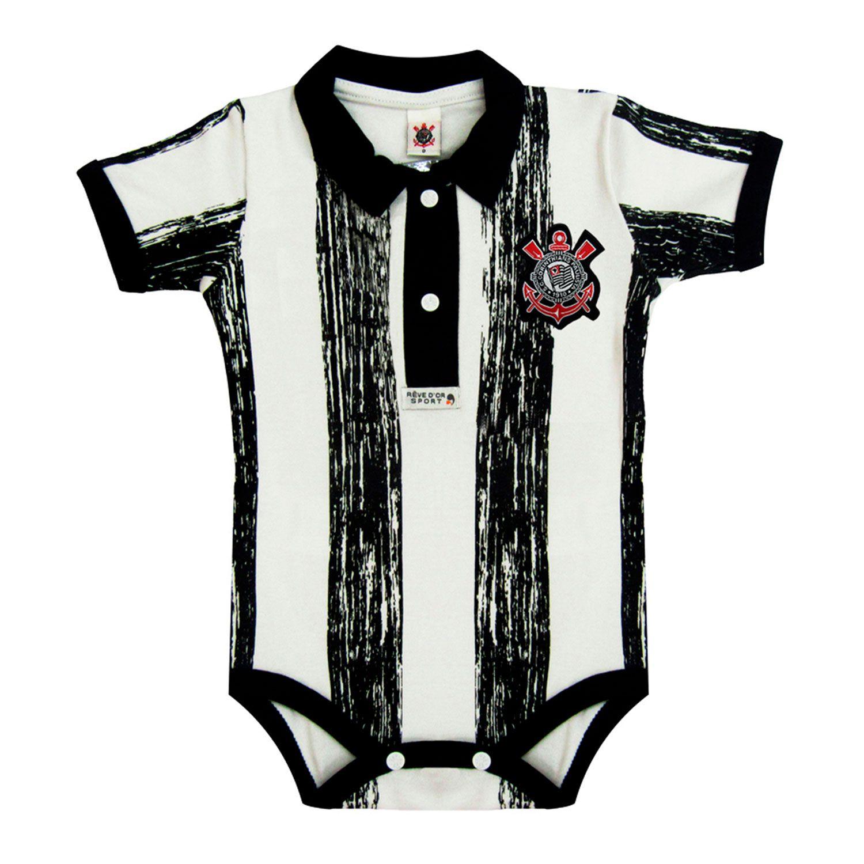 Body Polo Manga Curta Oficial Corinthians com Listras 9 a 12 Meses ... 93e5f7f09e0d1