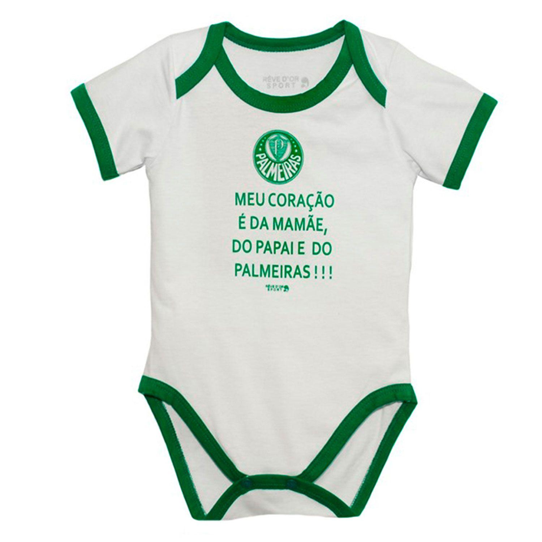 Body Manga Curta Oficial Palmeiras Meu Coração  a50b31f0ca757