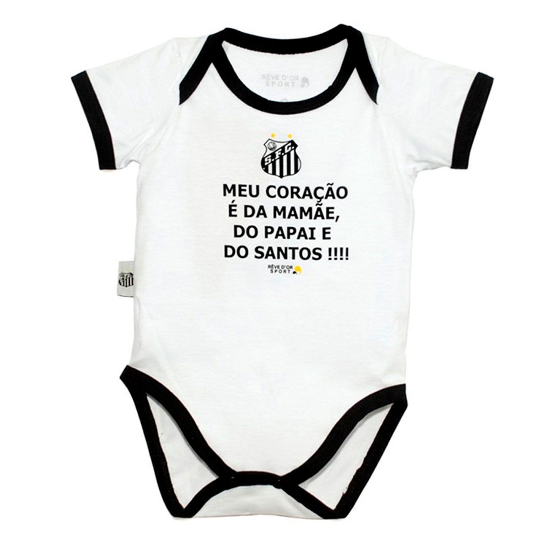 Body Manga Curta Oficial Santos Meu Coração  38641912f8839