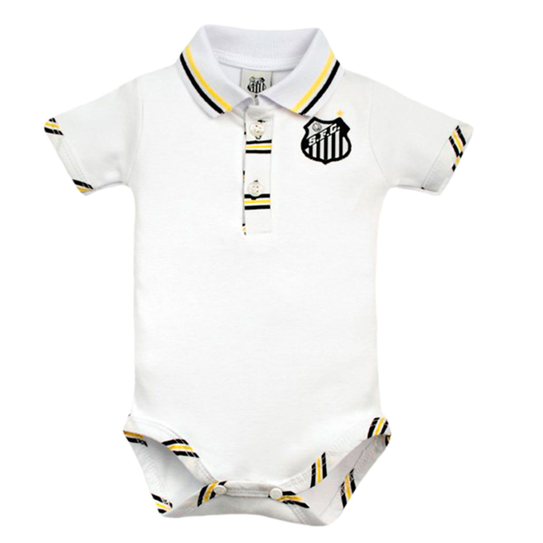 Body Polo Manga Curta Suedine Oficial Santos Branco 9 a 12 Meses ... 783b543c5888c
