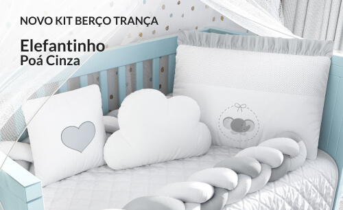 Kit Berço Trança Elefantinho Poá Cinza