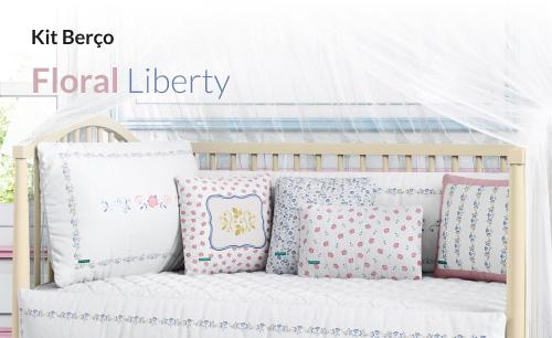 Kit Berço Floral Liberty Azul