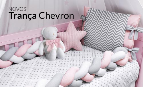 Quarto de bebê Trança Chevron Rosa