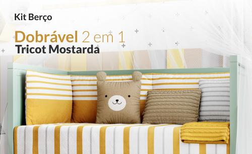 Kit Berço Dobrável 2 em 1 Tricot Amarelo Mostarda