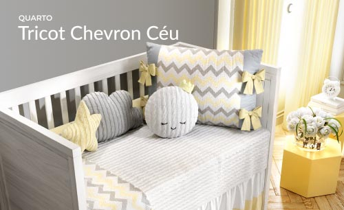 Quarto de Bebê Tricot Chevron Céu