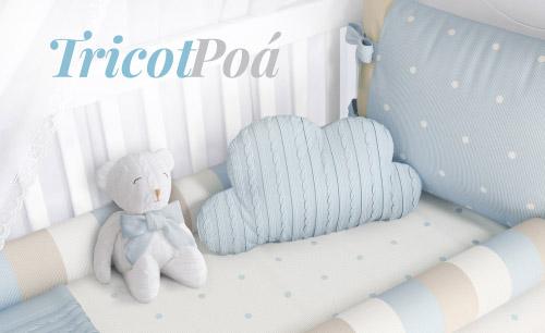 Quarto de Bebê Tricot Poá Azul e Bege