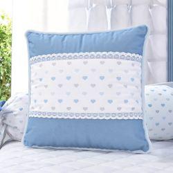 Almofada Renda e Corações Azul 38cm