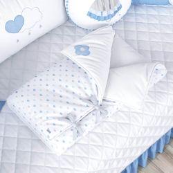 Porta Bebê com Capuz Chuva de Amor Azul