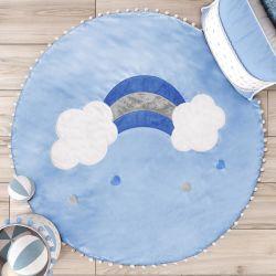 Tapete Redondo Pompom Arco-Íris 90cm Azul