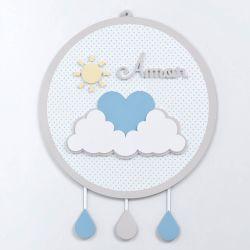 Porta Maternidade MDF Chuva de Amor Azul