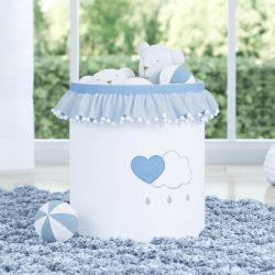 Cesto Organizador para Brinquedos Pompom e Babado Chuva de Amor Azul 35cm