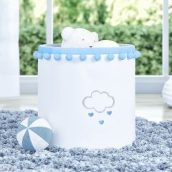 Cesto Organizador para Brinquedos Pompom Chuva de Amor Azul 28cm