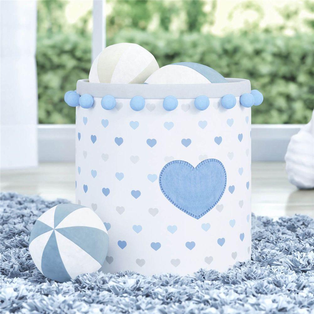 Cesto Organizador Brinquedos Corações Azul Grão de Gente
