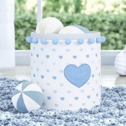 Cesto Organizador para Brinquedos Pompom Corações Azul 24cm