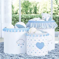 Cestos Organizadores para Brinquedos Chuva de Amor Azul
