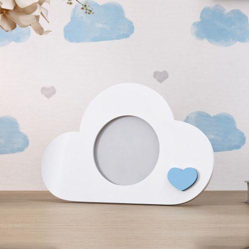 Porta Retrato MDF Nuvem Azul 7cm