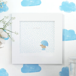 Quadro Chuva de Amor Azul 20cm