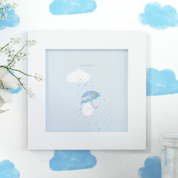 Quadro Gotinha e Guarda-Chuva Azul 20cm