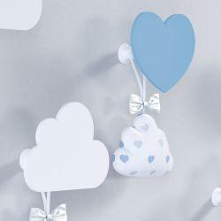 Cabideiros de Parede Coração e Nuvem Azul