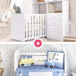 Quarto de Bebê Clean + Kit Berço Ursinho Bebê