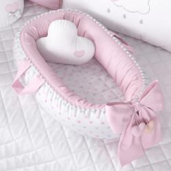 Ninho para Bebê Redutor de Berço Pompom e Corações