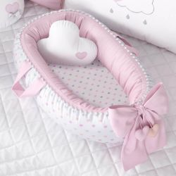 Ninho para Bebê Redutor de Berço Pompom e Corações 80cm