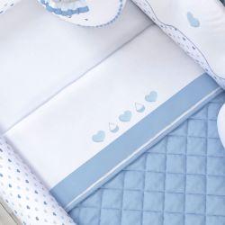 Jogo de Lençol para Mini Cama Chuva de Amor Azul