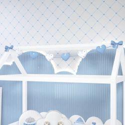 Varal Decorativo Corações Azul 1,60m