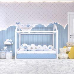 Quarto de Bebê Montessoriano Chuva de Amor Azul
