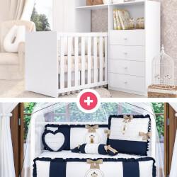 Quarto de Bebê Clean + Kit Berço Urso Teddy Realeza