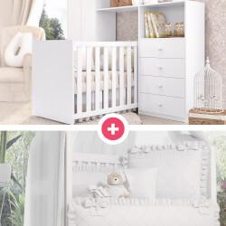 Quarto de Bebê Clean + Kit Berço Branco Clássico