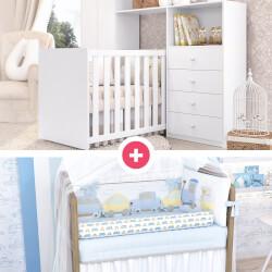 Quarto de Bebê Clean + Kit Berço Carrinhos Amarelo