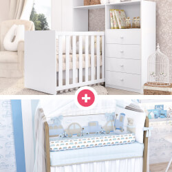 Quarto de Bebê Clean + Kit Berço Carrinhos