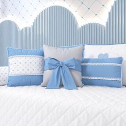 Almofadas Chuva de Amor Azul 3 Peças