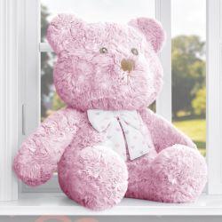 Ursa Rosa com Laço Corações 52cm