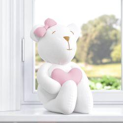 Ursa com Coração Branco/Rosa 42cm