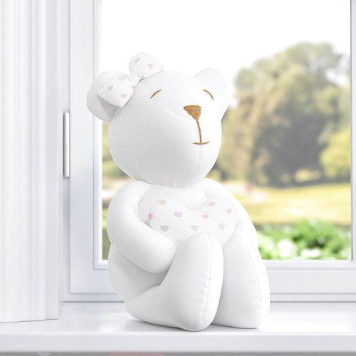 Ursa com Coração Branco/Estampa Corações 42cm